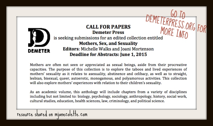 mjc-Demeter Press Mothers Sex and Sexuality